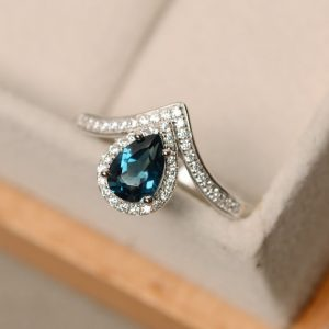 Shop Topaz Jewelry! London blue topaz ring, pear cut topaz, sterling silver | Natural genuine gemstone jewelry in modern, chic, boho, elegant styles. Buy crystal handmade handcrafted artisan art jewelry & accessories. #jewelry #beaded #beadedjewelry #product #gifts #shopping #style #fashion #product