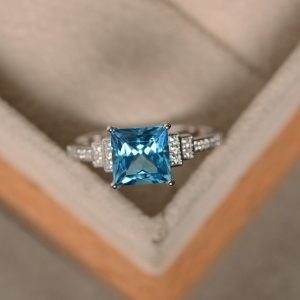 Swiss blue topaz ring, princess cut engagement, promise ring, sterling silver, blue topaz ring | Natural genuine Gemstone rings, simple unique alternative gemstone engagement rings. #rings #jewelry #bridal #wedding #jewelryaccessories #engagementrings #weddingideas #affiliate #ad