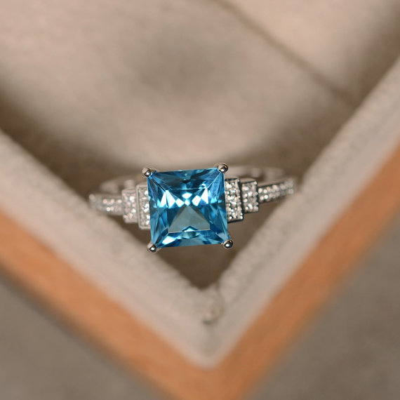 Swiss Blue Topaz Ring, Princess Cut Engagement, Promise Ring, Sterling Silver, Blue Topaz Ring