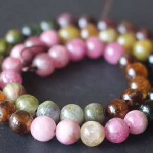 6mm Tourmaline Beads,Natural Smooth and Round Tourmaline Beads,15 inches one starand | Natural genuine round Tourmaline beads for beading and jewelry making.  #jewelry #beads #beadedjewelry #diyjewelry #jewelrymaking #beadstore #beading #affiliate #ad
