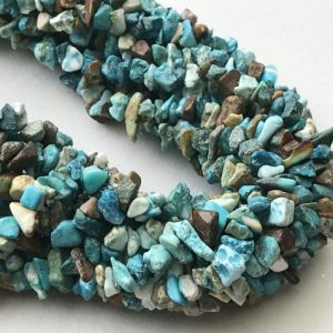 Turquoise Chips Beads, Natural Turquoise Gemstone Chips, Chip Beads, Turquoise Necklace, 4-8mm, 32 Inch – Rama203