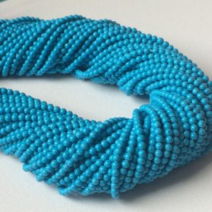 5 Strands 2mm Chinese Turquoise Plain Rondelle Beads, 13 Inch Turquoise Blue Rondelles, Plain Turquoise Necklace – Nt5