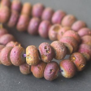 Natural Purple Titanium Druzy Agate Rondelle Beads,Natural Titanium Druzy Agate Wholesale Beads Bulk Supply. | Natural genuine beads Gemstone beads for beading and jewelry making.  #jewelry #beads #beadedjewelry #diyjewelry #jewelrymaking #beadstore #beading #affiliate #ad