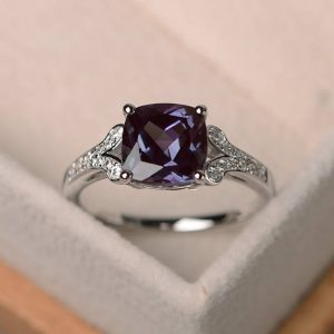 Alexandrite Ring, Cushion Cut Engagement Ring, Silver Gemstone Ring,june Birthstone Ring