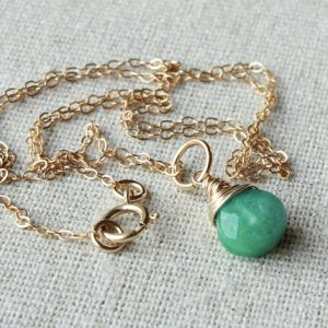Russian Amazonite Pendant Necklace, Goldfilled Wire Wrap, Green Gemstone Charm, Natural Stone Petite Pendant, Holiday Gift For Her, 4471
