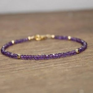 Amethyst Bracelet, Amethyst Jewelry, February Birthstone, Gold Filled, Sterling Silver or Rose Gold Beads | Natural genuine Amethyst bracelets. Buy crystal jewelry, handmade handcrafted artisan jewelry for women.  Unique handmade gift ideas. #jewelry #beadedbracelets #beadedjewelry #gift #shopping #handmadejewelry #fashion #style #product #bracelets #affiliate #ad