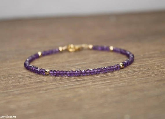 Amethyst Bracelet, Amethyst Jewelry, February Birthstone, Gold Filled, Sterling Silver Or Rose Gold Beads