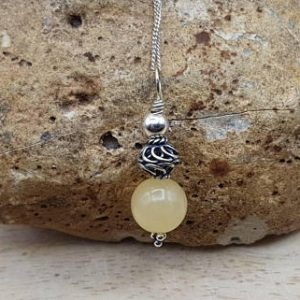 Small Yellow Calcite Pendant. Reiki Jewelry Uk. Bali Silver Wire Wrap Pendant. Minimalist Necklace
