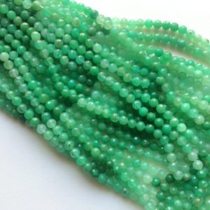 Chrysoprase Micro Faceted Round Balls, Shaded Green Chrysoprase Beads, Chrysoprase Necklace, 7mm, 13 Inch, 50 Pcs – Aga160