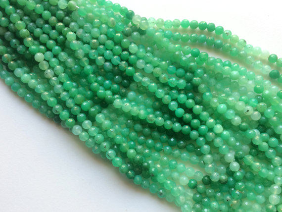 Chrysoprase Micro Faceted Round Balls, Shaded Green Chrysoprase Beads, Chrysoprase Necklace, 7mm, 13 Inch, 50 Pcs - Aga160