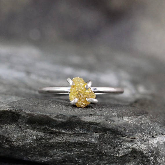 1 Carat Rough Diamond Ring - Yellow Raw Uncut Diamond - Sterling Silver Gemstone Ring - Engagement Ring - Stacking Ring