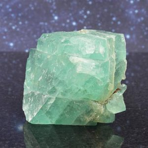 Beautiful Mint Green Fluorite Octahedral Cluster from South Africa | Purple Fluorite Inclusion | Trigonic Record Keeper | 2.76"