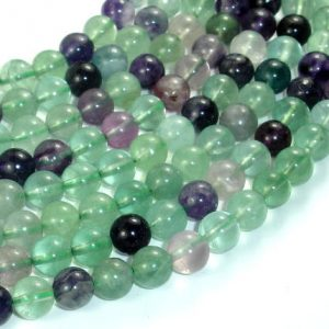 Shop Fluorite Round Beads! Fluorite, Rainbow Fluorite, 8mm (8.3mm) Round Beads, 15.5 Inch, Full Strand, Approx 50 Beads, Hole 1mm (224054023) | Natural genuine round Fluorite beads for beading and jewelry making.  #jewelry #beads #beadedjewelry #diyjewelry #jewelrymaking #beadstore #beading #affiliate #ad
