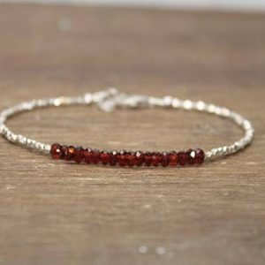 Garnet Bracelet, Hill Tribe Silver Beads, Garnet Jewelry, January Birthstone, Valentine's Day, Love | Natural genuine Array jewelry. Buy crystal jewelry, handmade handcrafted artisan jewelry for women.  Unique handmade gift ideas. #jewelry #beadedjewelry #beadedjewelry #gift #shopping #handmadejewelry #fashion #style #product #jewelry #affiliate #ad
