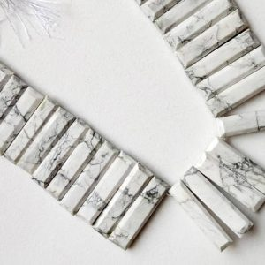 Howlite Fancy Faceted Sticks, 24-27mm Natural Howlite Rectangle Beads, Howlite Statement Necklace, Layout Necklace – Nt73