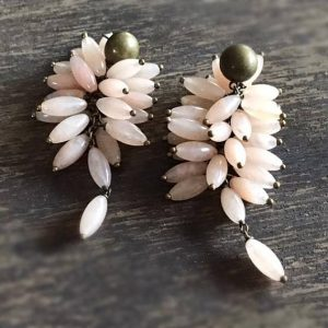 Pink Earrings – Jade Gemstone Jewelry – Brass Jewellery – Beaded – Dangle – Fashion