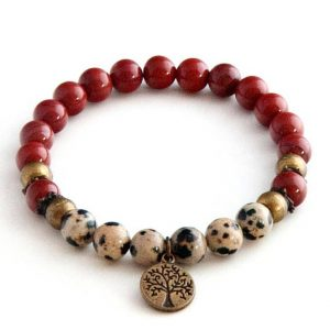 Red Jasper anklet with Tree of Life charm | Natural genuine Jasper bracelets. Buy crystal jewelry, handmade handcrafted artisan jewelry for women.  Unique handmade gift ideas. #jewelry #beadedbracelets #beadedjewelry #gift #shopping #handmadejewelry #fashion #style #product #bracelets #affiliate #ad