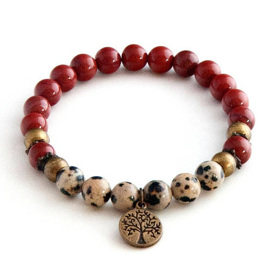 Red Jasper Anklet With Tree Of Life Charm