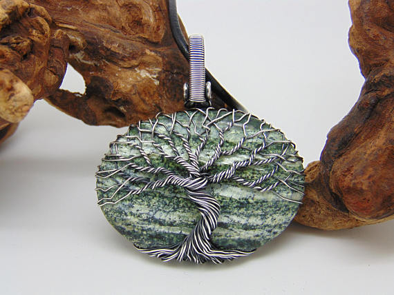 Tree Of Life Pendant, Zebra Jasper Necklace, Wire Wrapped Jewellery