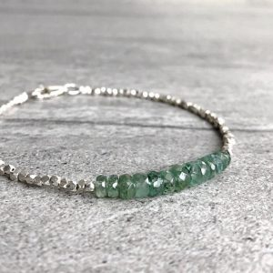 Green Kyanite Bracelet | Delicate Beaded Bracelet | Hill Tribe Silver Bead Jewelry | Custom Size Natural Crystal Kyanite Jewelry