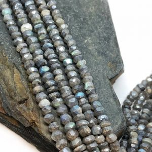 Shop Labradorite Faceted Beads! Silvered Labradorite Rondelle Handmade Faceted Rondelle Beads 3-4 Mm Approx Approx Flashy Labradorite Beads Labradorite Choose Quantity | Natural genuine faceted Labradorite beads for beading and jewelry making.  #jewelry #beads #beadedjewelry #diyjewelry #jewelrymaking #beadstore #beading #affiliate #ad