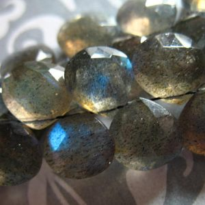 Shop Labradorite Bead Shapes! LABRADORITE Briolettes, Heart Beads, Luxe AAA, 9-10 mm / 2-10 beads, Gray, blue flashes, neutral, brides, bridal, something blue | Natural genuine other-shape Labradorite beads for beading and jewelry making.  #jewelry #beads #beadedjewelry #diyjewelry #jewelrymaking #beadstore #beading #affiliate