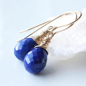Shop Lapis Lazuli Earrings! Lapis Earrings Gold Filled wire wrapped genuine natural royal blue gemstone minimalist artisan dangle drops december birthstone gift 4522 | Natural genuine Lapis Lazuli earrings. Buy crystal jewelry, handmade handcrafted artisan jewelry for women.  Unique handmade gift ideas. #jewelry #beadedearrings #beadedjewelry #gift #shopping #handmadejewelry #fashion #style #product #earrings #affiliate #ad