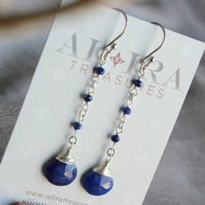 Shop Lapis Lazuli Earrings! Lapis Lazuli Earrings, Sterling Silver wire wrap, cobalt blue gemstone, modern, artisan, long, dangle, December birthstone, gift, 4583 | Natural genuine Lapis Lazuli earrings. Buy crystal jewelry, handmade handcrafted artisan jewelry for women.  Unique handmade gift ideas. #jewelry #beadedearrings #beadedjewelry #gift #shopping #handmadejewelry #fashion #style #product #earrings #affiliate #ad