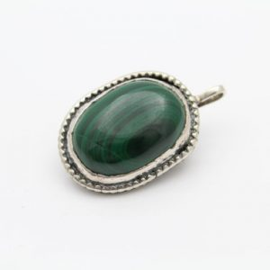 Artisan-crafted Tribal-style Oval Pendant In Malachite And Sterling Silver. [9728]