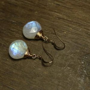 Rainbow Moonstone Earrings, Wire Wrap, Moonstone Jewelry, Dangle Earrings, Blue Flash, Gold Filled or Sterling Silver |  #affiliate