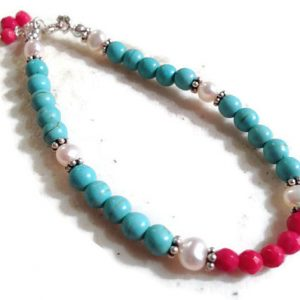 Shop Pearl Bracelets! Turquoise Bracelet – Red White Jewelry – Sterling Silver Jewellery – Pearl & Coral Gemstone – Beaded – Dainty – Layer | Natural genuine Pearl bracelets. Buy crystal jewelry, handmade handcrafted artisan jewelry for women.  Unique handmade gift ideas. #jewelry #beadedbracelets #beadedjewelry #gift #shopping #handmadejewelry #fashion #style #product #bracelets #affiliate #ad