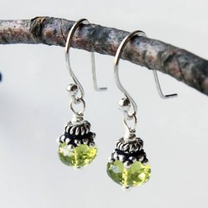 Peridot Earrings, Sterling Silver, Lime Green Gemstone, Dainty Boho Luxe Dangle Drop Earrings, Holiday Gift For Her, August Birthstone, 4460