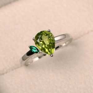 Natural Peridot Ring, Engagement Ring, Pear Cut Gemstone, August Birthstone, Green Gemstone, Sterling Silver Ring