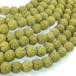 Shop Peridot Round Beads! Peridot color Lava Beads, 10mm (10.5 mm) Round Beads, 15.5 Inch, Full strand, Approx 40 beads, Hole 1 mm (300054042) | Natural genuine round Peridot beads for beading and jewelry making.  #jewelry #beads #beadedjewelry #diyjewelry #jewelrymaking #beadstore #beading #affiliate