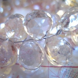 5-20 pcs / Clear CRYSTAL Quartz Briolettes Pear, Luxe AAA, 10-11.5 mm, Faceted, April birthstone brides bridal weddings 1011 crc solo bgg | Natural genuine faceted Quartz beads for beading and jewelry making.  #jewelry #beads #beadedjewelry #diyjewelry #jewelrymaking #beadstore #beading #affiliate #ad