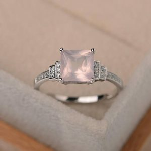 Shop Quartz Crystal Rings! Wedding ring,natural pink quartz ring, square cut quartz, sterling silver, pink gemstone, bridal ring | Natural genuine Quartz rings, simple unique alternative gemstone engagement rings. #rings #jewelry #bridal #wedding #jewelryaccessories #engagementrings #weddingideas #affiliate #ad