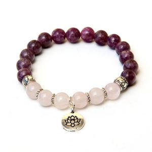 Lepidolite & Rose Quartz bracelet with Lotus charm | Natural genuine Rose Quartz bracelets. Buy crystal jewelry, handmade handcrafted artisan jewelry for women.  Unique handmade gift ideas. #jewelry #beadedbracelets #beadedjewelry #gift #shopping #handmadejewelry #fashion #style #product #bracelets #affiliate #ad