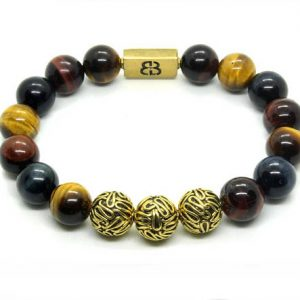 Mixed Tiger's Eye Bracelet, Tiger's Eye And Antique Gold Beads Bracelet, Men's Bracelet, Bead Bracelet Men, Bracelet Men, Beaded Bracelet