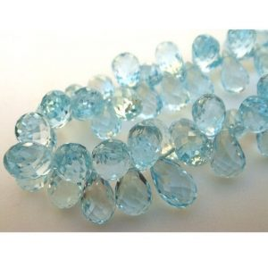 Blue Topaz, Micro Faceted, Tear Drop Beads – 6x9mm Each – 11 Pieces Approx