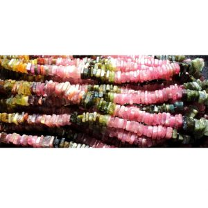Shop Tourmaline Bead Shapes! Tourmaline Heishi, Tourmaline Spacer Beads, 5mm Beads, Heishi Spacer Bead, Heishi Bead, 8 Inch Half Strand | Natural genuine other-shape Tourmaline beads for beading and jewelry making.  #jewelry #beads #beadedjewelry #diyjewelry #jewelrymaking #beadstore #beading #affiliate