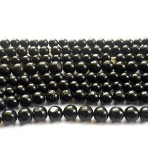 Shop Black Tourmaline Beads! 9-10mm Black Tourmaline Beads, Black Tourmaline Plain Rondelles, Smooth Black Round Balls, Black Tourmaline For Necklace – 14 Inch Strand | Natural genuine rondelle Black Tourmaline beads for beading and jewelry making.  #jewelry #beads #beadedjewelry #diyjewelry #jewelrymaking #beadstore #beading #affiliate #ad