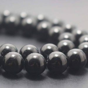 Natural Black Tourmaline Smooth And Round Beads,6mm/8mm/10mm/12mm Gemstone Beads Supply,15 Inches One Starand