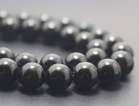 Natural Black Tourmaline Smooth And Round Beads, 6mm / 8mm / 10mm / 12mm Gemstone Beads Supply, 15 Inches One Starand