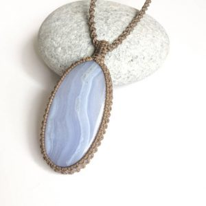 Blue lace Agate necklace, Blue lace macrame necklace, natural blue stripes stone, Blue & white stone necklace, Oval Blue lace, from israel | Natural genuine Agate necklaces. Buy crystal jewelry, handmade handcrafted artisan jewelry for women.  Unique handmade gift ideas. #jewelry #beadednecklaces #beadedjewelry #gift #shopping #handmadejewelry #fashion #style #product #necklaces #affiliate #ad