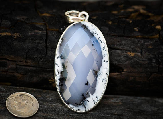 Dendritic Agate Pendant - Merlinite Pendant - Checkerboard Cut Tree Agate Pendant - Black And White Agate Pendant - Merlinite Pendant