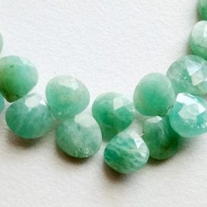 4 Inch Amazonite Faceted Heart Beads, Natural Amazonite Sea Foam Briolettes, Amazonite Necklace, 8mm, 23 Pcs – A1j3