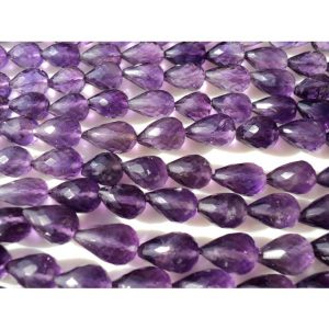 Amethyst Faceted Tear Drop Beads, Faceted Gemstones, 6×9-6x13mm Each, Straight Drilled, 18 Pieces Approx