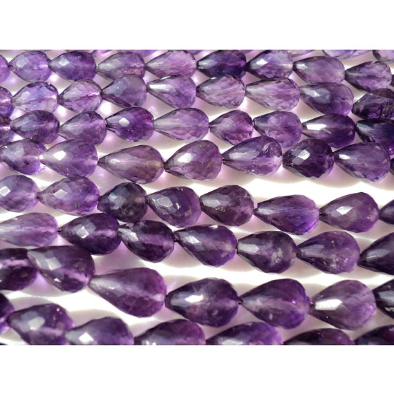 Amethyst Faceted Tear Drop Beads, Faceted Gemstones, 6x9-6x13mm Each, Straight Drilled, 18 Pieces Approx