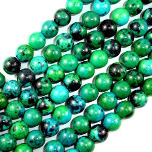 Shop Chrysocolla Round Beads! Chrysocolla, 10 mm Round Beads , 15.5 Inch, Full strand, Approx 40 beads, Hole 1 mm, A quality, Reconstituted(196054009) | Natural genuine round Chrysocolla beads for beading and jewelry making.  #jewelry #beads #beadedjewelry #diyjewelry #jewelrymaking #beadstore #beading #affiliate #ad