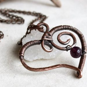 Shop Garnet Necklaces! Garnet Heart Pendant Necklace Copper wire wrapped deep red gemstone handmade hand forged talisman amulet January birthstone gift for her | Natural genuine Garnet necklaces. Buy crystal jewelry, handmade handcrafted artisan jewelry for women.  Unique handmade gift ideas. #jewelry #beadednecklaces #beadedjewelry #gift #shopping #handmadejewelry #fashion #style #product #necklaces #affiliate #ad